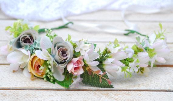 Couronne De Mariee Fleur Fleur Blanche Couronne Fleur Couronne Etsy