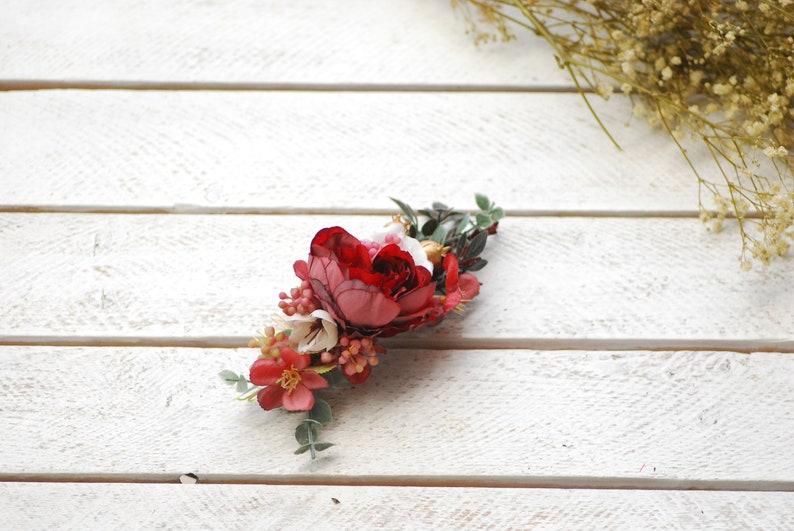 Marsala white comb Bridal flower comb Wedding \u0441omb Floral comb Hair comb Flower accessory Wedding flower comb Floral hair comb Bridal comb