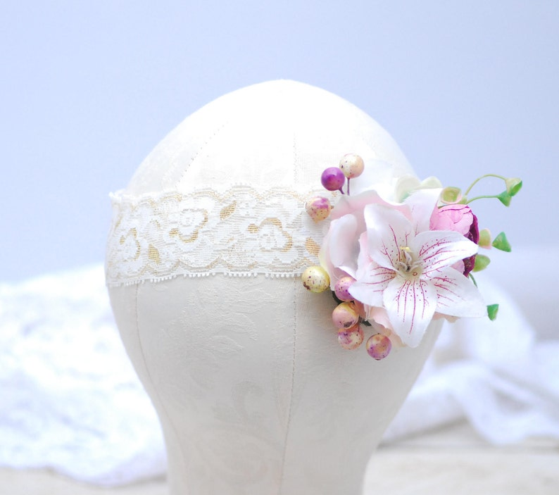 Red Pink flower crown Flower halo Bridal Crown Bridal flower image 0