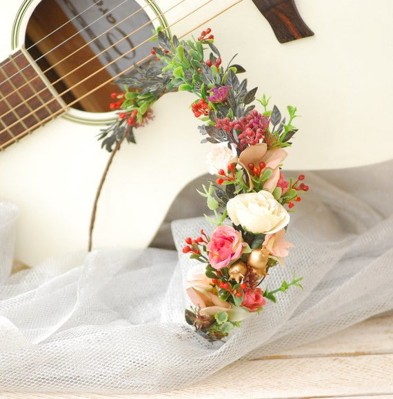 Red White Gold Flower Crown Bridal wedding crown Flower crown | Etsy