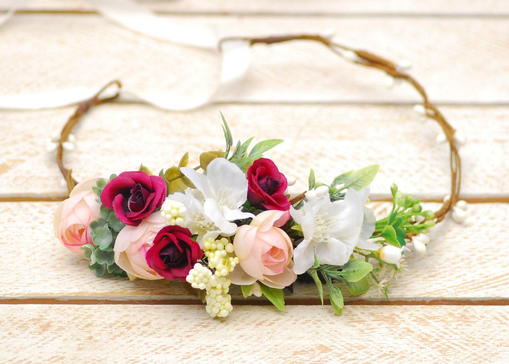 Spring Wedding flower crown Floral headband Bridal hair wreath  628847bcdbd