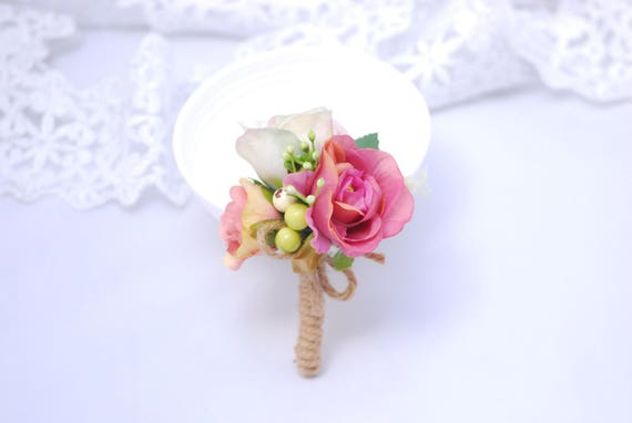 36c8999a596a3 Boho boutonniere Romantic corsage Pink wedding Accessories Wedding feather  Corsage for groom Handmade boutonniere Wedding accessories