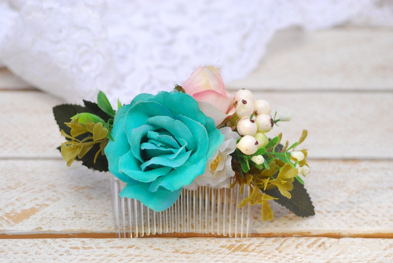 Turquoise Pink boho flower comb Hairstyle Flower accessories image 0