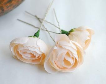 Peach hair pins set Wedding Bridal Ivory Bridal hair pins Rustic Hair Flower Bridal hair flowers  Ivory Wedding wedding hairpins Hair Flower