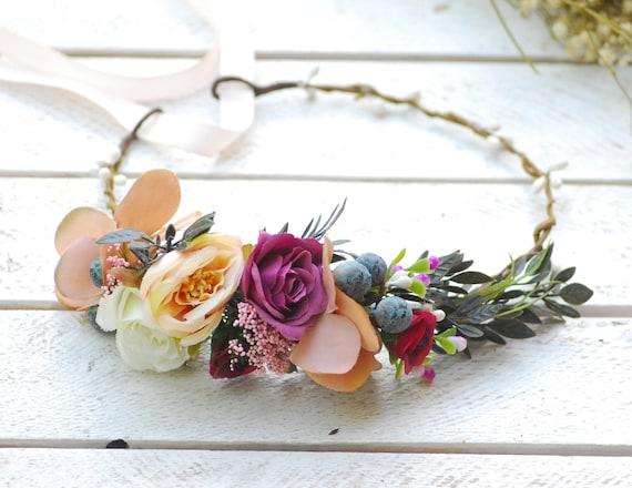 Red Ivory White Rose Lavender Flower Hair Crown Headband Purple Garland Vtg X-53