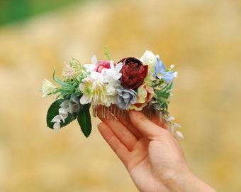 Burgundy peach flower comb Floral accessories Wedding comb  Bridesmaid headpiece Bridal headpiece Rustic hair Wedding Flower gift Bridal