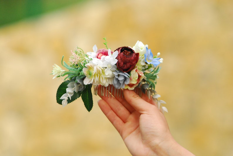 Burgundy peach flower comb Floral accessories Wedding comb image 0