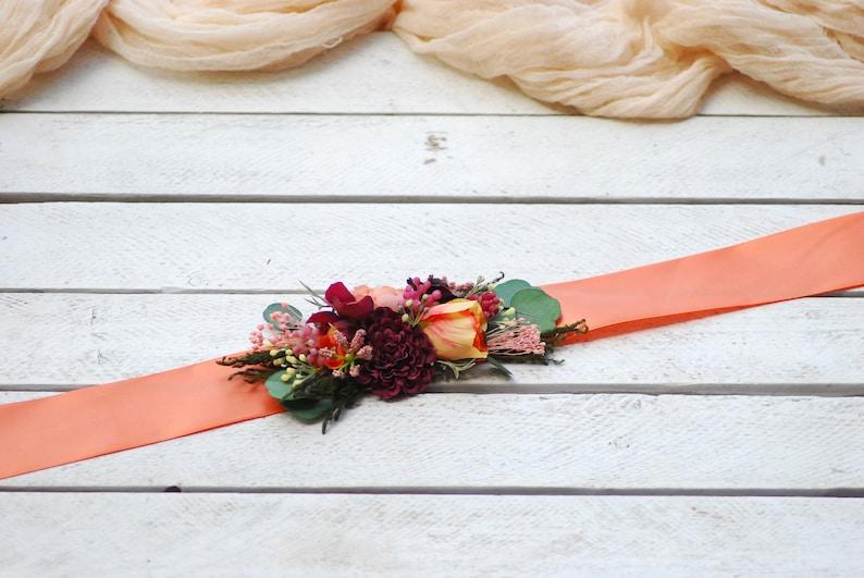 Salmon Burgundy flower crown Bridal hair wreath Wedding flower belt Floral crown Wedding crown Flower comb Wedding flower halo Bridal wreath