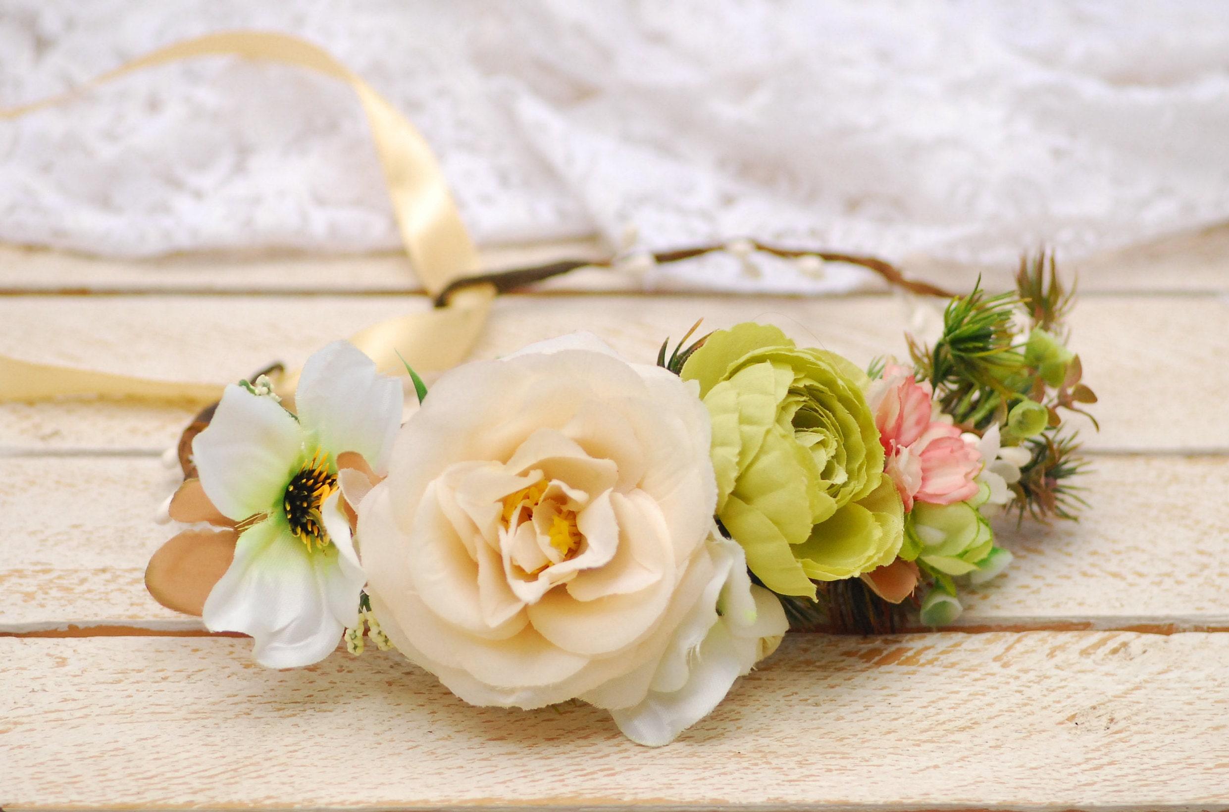 Cream flower crown Bridal flower crown Wedding flower crown  15dfe0bf249