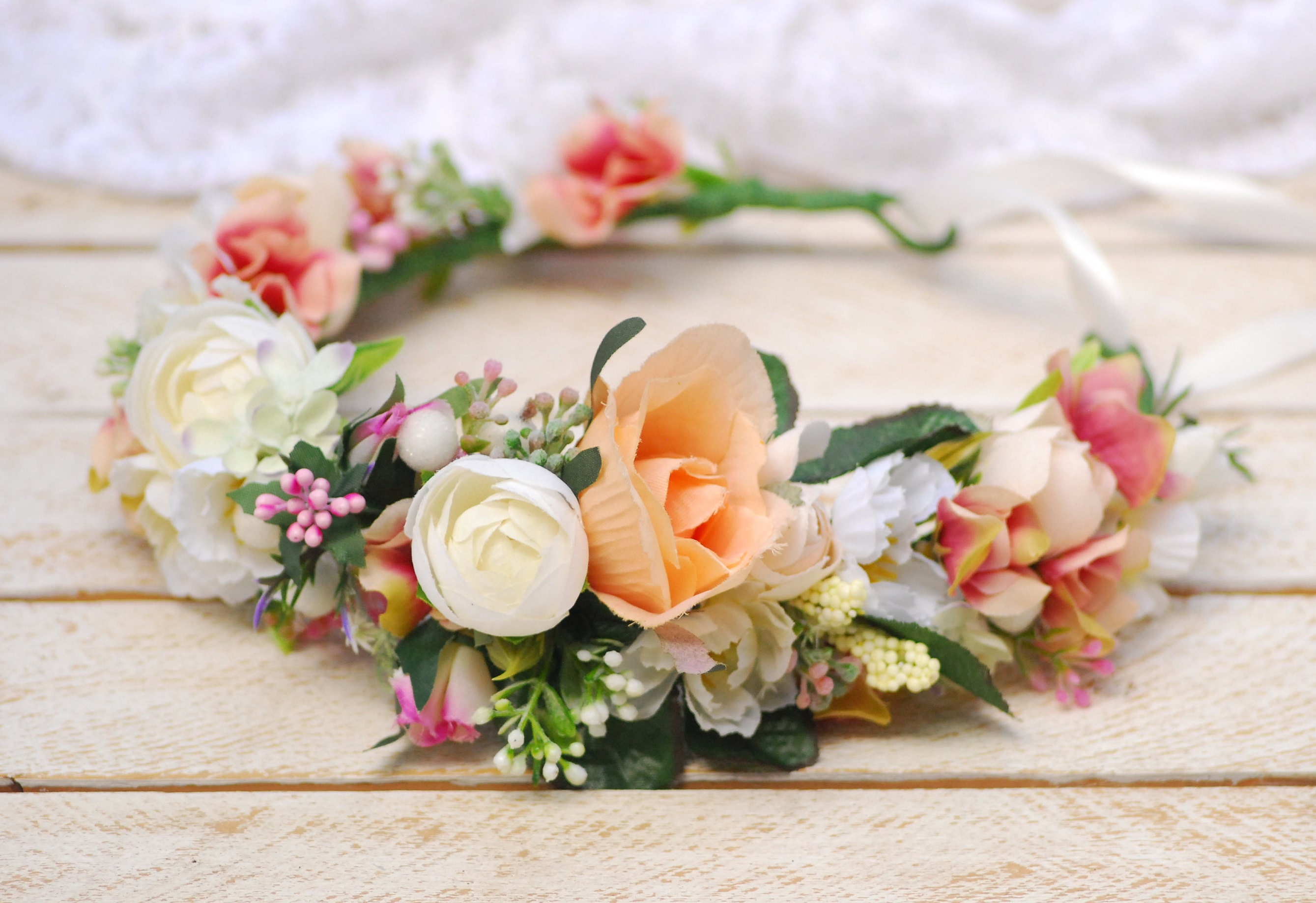 Peach Pink White Wedding crown Flower headband Headband  6a7da737fa4