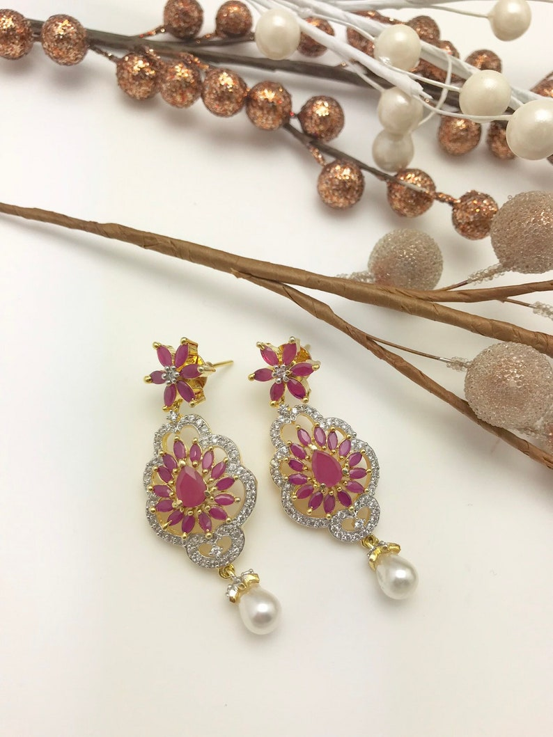 Pink onyx and Cubic zirconoum Earrings. New Arrival