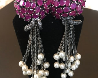SPRING COLLECTION, Pink ruby dangle and drop earrings with pearls, statement Jewelry, Zevar