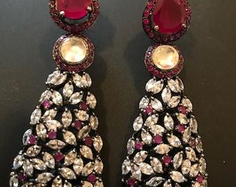 NEW ARRIVAL, American Diamond Pink Ruby Earrings, Statement Jewelry, Zevar