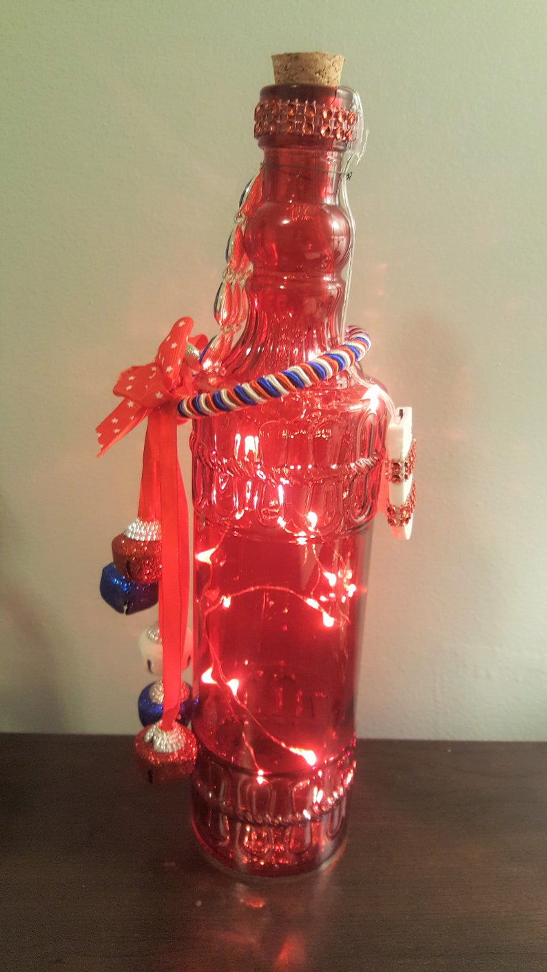 Red lighted bottle Patriotic string lights White /& Blue Celebrations- Bottle Light 4th of July