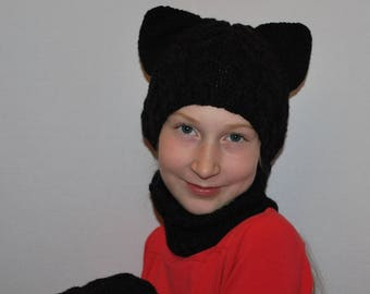 Cat hat and collar set, Cat ear hat, Cat beanie, Cat ear beanie, Kitty hat, gift for child, Hand knitted snood, Handmade, Knitted cat hat