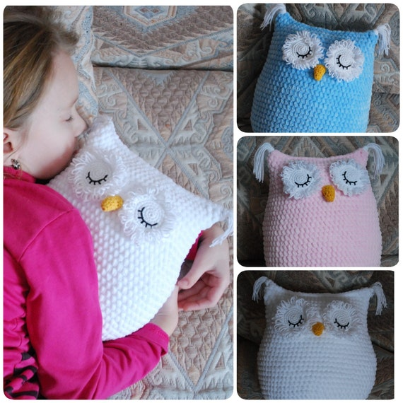 HOOTY owl pillow cushion cover PDF email crochet pattern | Etsy | 570x570