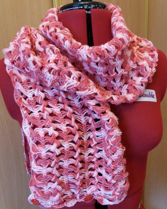 Webstuhl rot weißen Schal schöne Schal häkeln häkeln | Etsy
