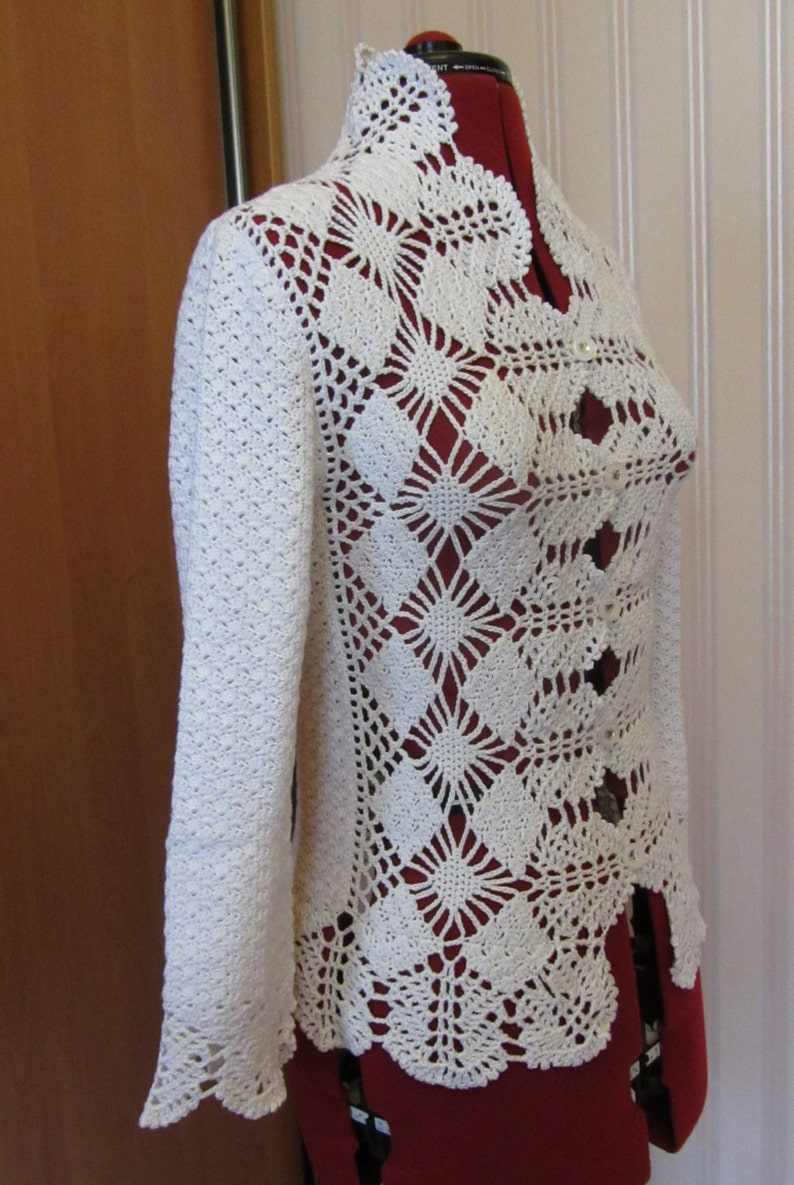 Crochet White Cotton Lace Jacket Crochet Small Cardigan Etsy