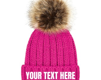 Personalised Hat - Pom Pom Hat - Bobble Hat - Gifts for Her - Personalised  Gift - Winter Hat - Beanie Hat - Christmas Gift - Custom Hat a8b3eb9f7a40