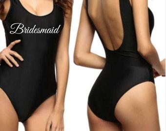cd3bb0bb31 Bride Swimsuit - Bridesmaid Swimsuit - Personalised Swimsuit - High Leg  Swimsuit - Hen Weekend- Hen Party - Black Swimsuit- Hen Do - Swim