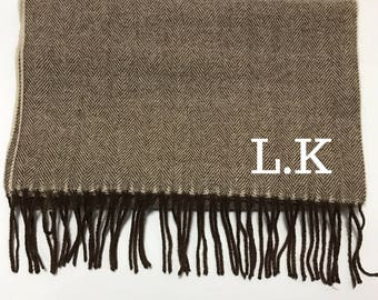 Embroidered Scarf - Monogrammed Scarf - Initials Scarf - Monogrammed Gift - Personalised Scarf - Personalised Gift- Brown- Wool