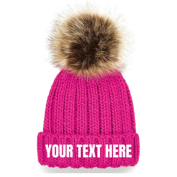 Personalised Character Pink Fluffy Pom-Pom Bobble Hat