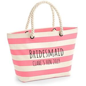 Bridesmaid Personalised Beach Bag Bridal Gift Personalised Gift Hen Beach Bag Bride Beach Bag Custom Beach Bag Holiday Bag