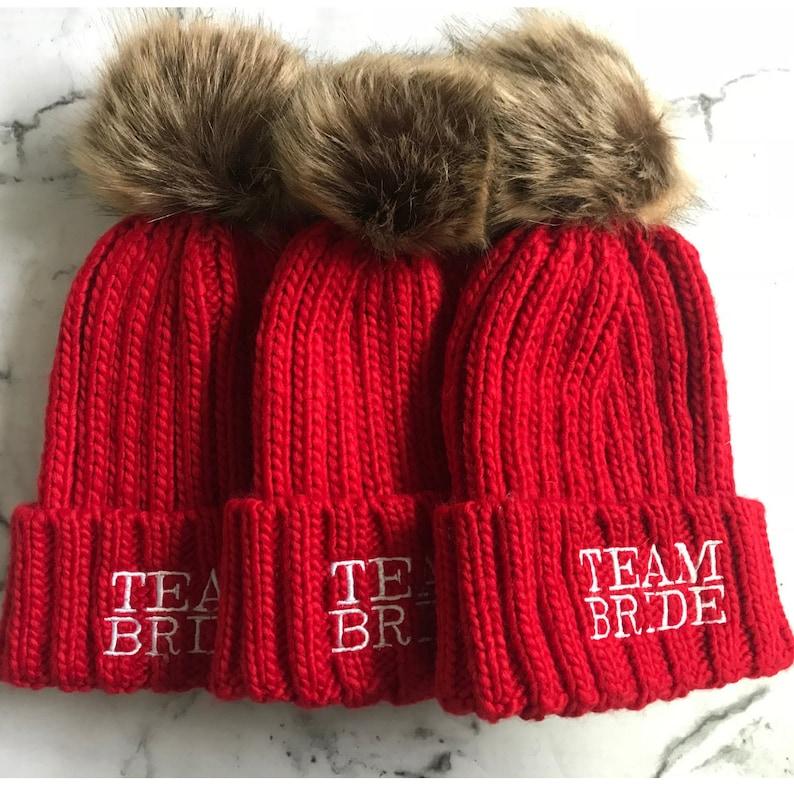 fd1e043de Bride Hat - Personalised Hat - Pom Pom Hat - Team Bride Hats - Team Bride -  Winter Hen - Ski Hen - Bridal Hats - Bridesmaid Hats