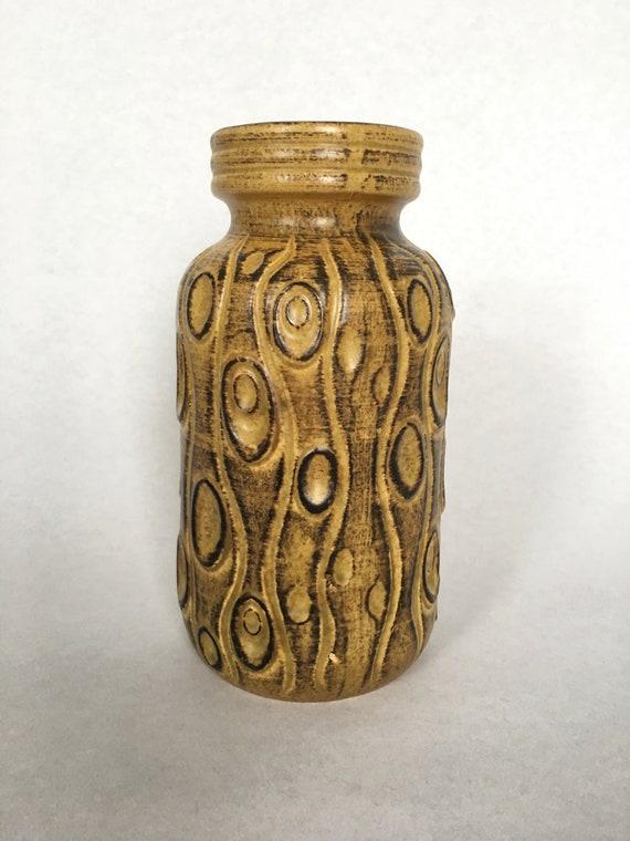 Mid Century West German Ceramic Vase  Scheurich  Coral Koralle