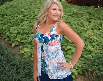 Blue Floral Tankini Tank Top with Lace Overlay