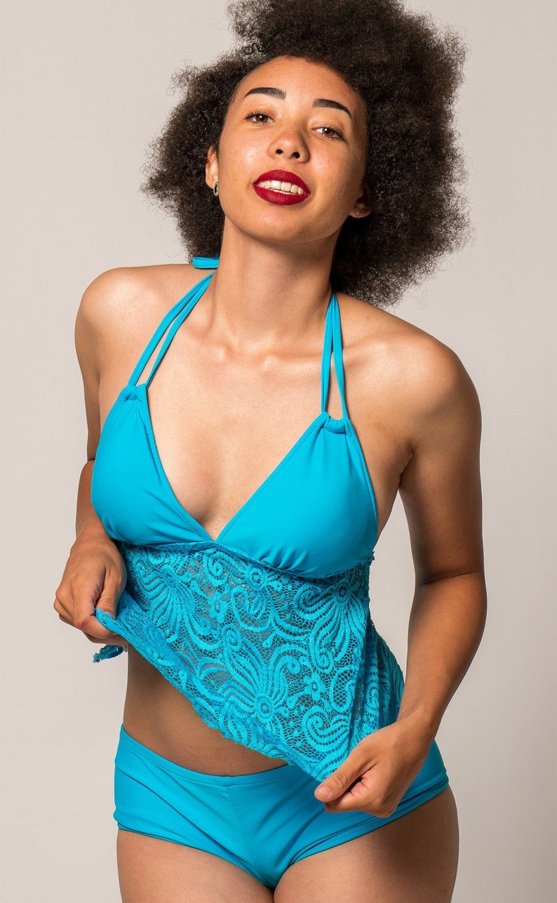 1fc17f4885 Blue Lace Tankini with Open Back