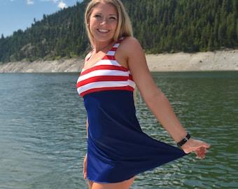 Navy Sailor Long Swim Dress Top