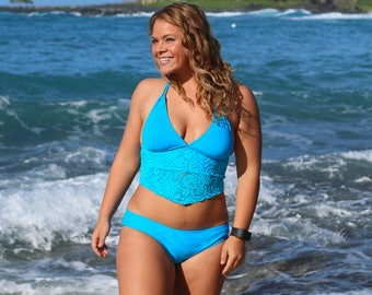 Turquoise Blue Lace Mid Length Tankini Swimsuit