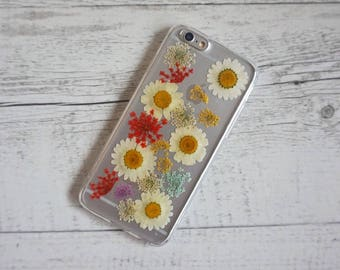 Rainbow Daisy Floral Flowers - Real Pressed Flower Soft iPhone Mobile Phone Case - for; iPhone 6, 6/6s Plus, 7,  7 Plus, 8 & 8 Plus