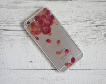 Falling Roses Rose Petals - Real Pressed Flower Soft iPhone Mobile Phone Case - for; iPhone 6/6s, 6/6s Plus, 7, 7 Plus, 8 & 8 Plus