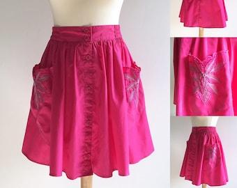 Reworked Vintage Hot Pink Skater Skirt - UK Size 10/US Size 6