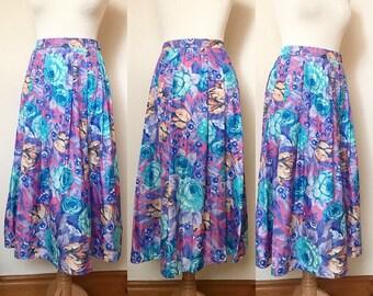 Vintage 90s Rose Print Pleated Midi Skirt - UK Size 12/US Size 8