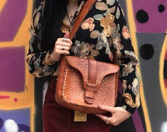 Vintage Tooled Leather Boho Bag - Medium