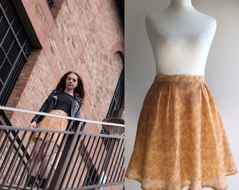 Reworked Vintage 1960s Peach Skater Skirt - UK Size 8/US Size 4
