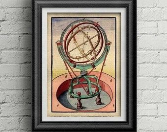 Astronomy print 022 - astronomy colored print - antique astronomy tool - old colored illustration - astronomy art deco