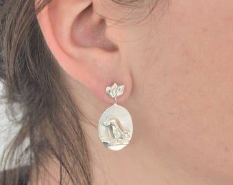 Bird and leaf earrings in silver/Interchangeable ear for Bird and Leaves in silver