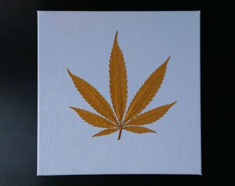 "Gold Cannabis Leaf on Hand Painted Canvas (12"" x 12"")"
