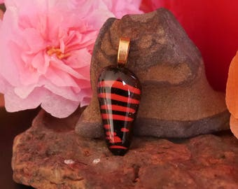 Black fused glass patterned pendant red horizontal lines