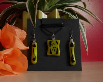 Yellow black fused glass jewelry set