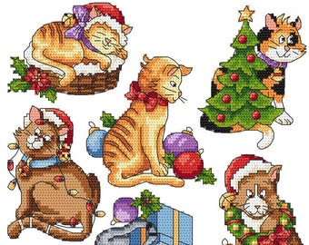 Christmas cats  Digital  Pdf , Funny cats  Counted Cross Stitch pattern in PDF  , Painting,  Very easy , Modern