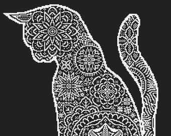 Lace cat Stitch Pattern, Digital  Pdf ,Graphics Counted Cross Stitch pattern in PDF  format, Painting,  Easy