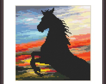 Wild stallion  Digital  Pdf , Landscape with horse  Counted Cross Stitch pattern in PDF  , Painting,  Very easy , Modern
