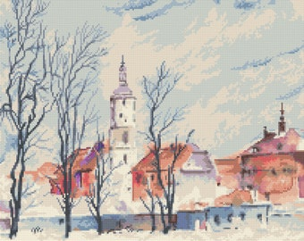 City view Stitch Pattern,   Digital  Pdf ,Graphics Counted Cross Stitch pattern in PDF  format, Painting,  Easy