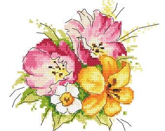 Cross stich pattern - Spring bouquet