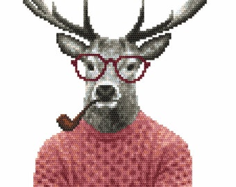 Hipster deer, Digital  Pdf ,Graphics Counted Cross Stitch pattern in PDF  format, Painting,  Easy